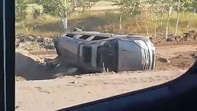 Видео: На трассе возле Рудного произошло столкновение двух автомобилей