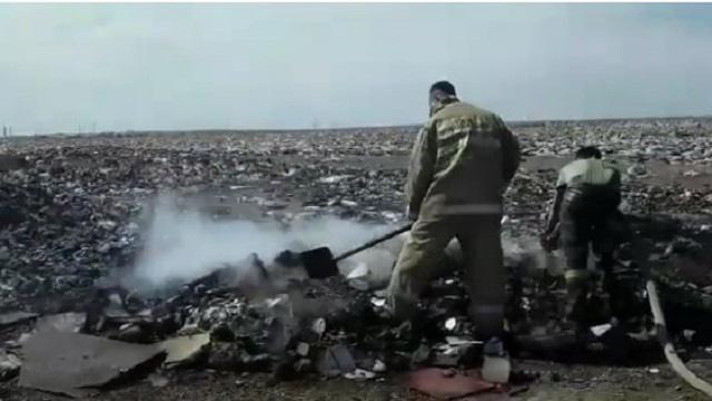 Видео: Мусорный полигон вторые сутки горит возле города Балхаш