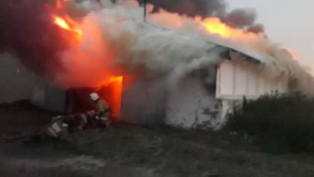 Склад с сотнями тонн жмыха подсолнечника горел в Костанайской области