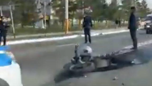 Видео: Очередное ДТП с участием мотоциклиста произошло в Костанае