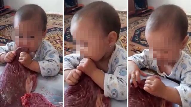 Видео с поедающим сырое мясо ребенком обсуждают в Казнете