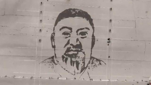 Гигантский портрет Абая нарисовали водой в Казахстане
