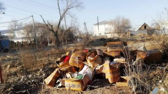 Казахстанка вывалила мусор на улице и получила штраф