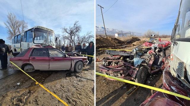 Водитель Mitsubishi погиб в страшной аварии в Алматинской области