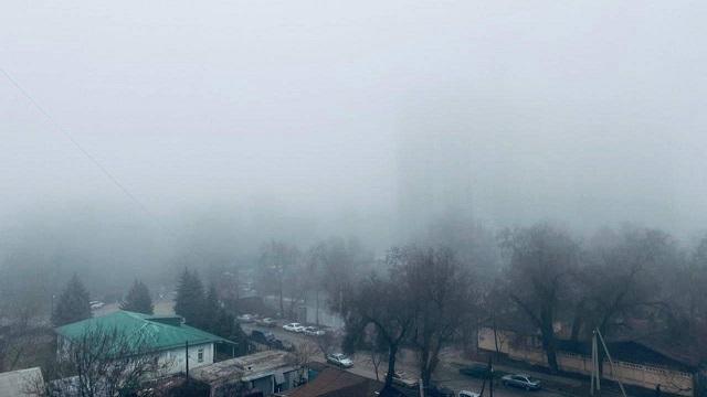 Густой туман накрыл Алматы