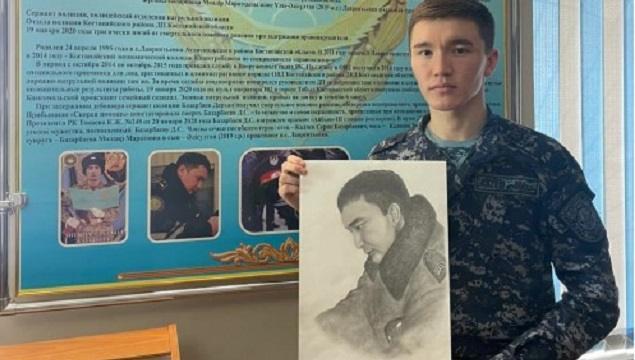 Полицейский из Тобыла нарисовал портрет Дархана Базарбаева