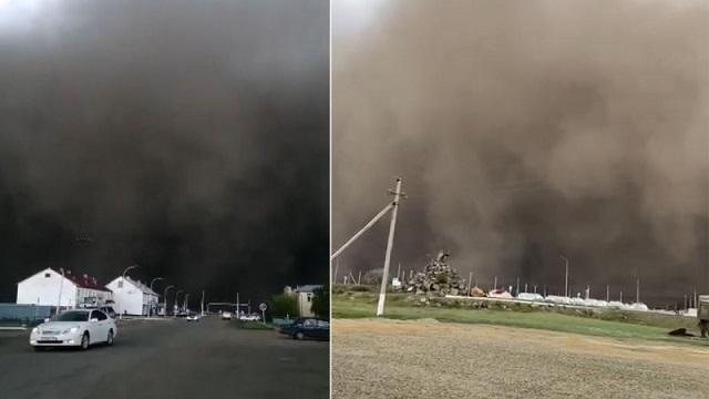 «Страшное зрелище»: Пыльная буря накрыла три района в СКО