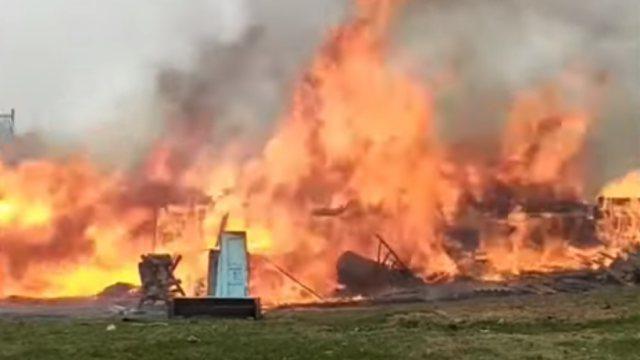 Видео сильнейшего пожара сняли сельчане Костанайской области