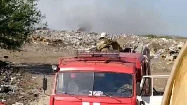 На полигоне ТБО в Рудном произошел крупный пожар