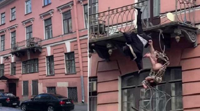 Семейная пара устроила схватку и упала с балкона третьего этажа