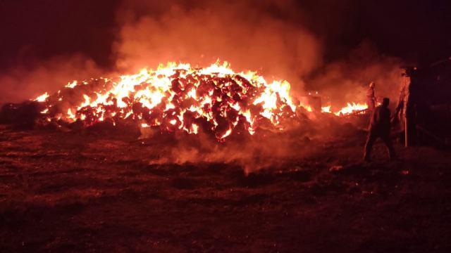 Тысяча тюков сена сгорела во дворе дома в Костанайской области