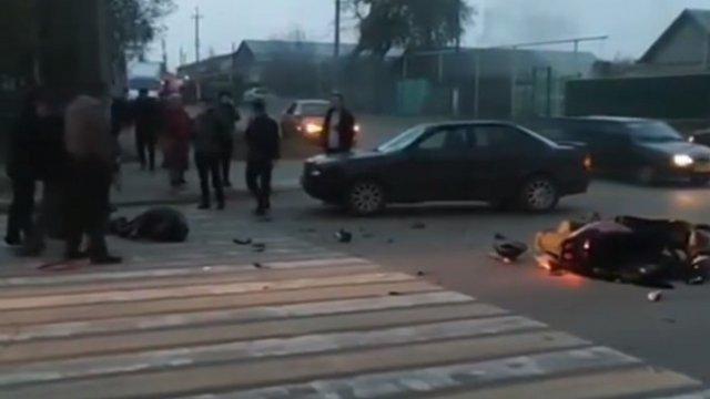 Видео: Столкновение иномарки и мотоцикла произошло в Костанае