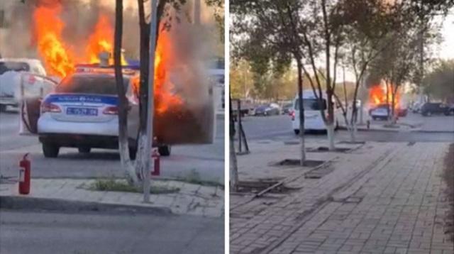 Видео загоревшегося полицейского автомобиля обсуждает Казнет