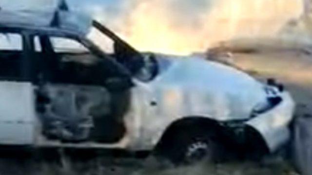 Видео: Угнанный автомобиль нашли сгоревшим на пустыре в Рудном